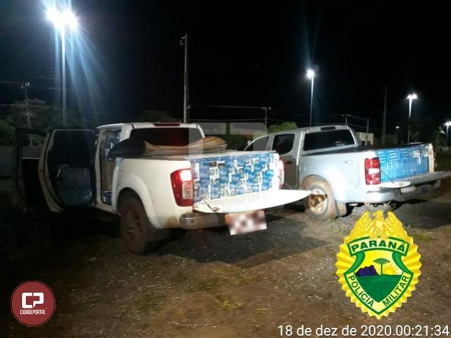 Polícia Militar apreende duas caminhonetes carregadas com cigarros contrabandeados em Assis Chateaubriand