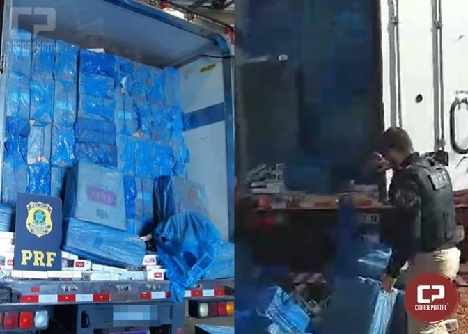 PRF e Polícia Civil apreendem carreta com 600 mil carteiras de cigarro em Assis Chateaubriand