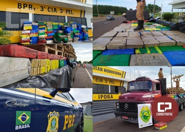 PRE de Iporã apreende caminhão carregado com 3.500 kg de maconha e prende motorista