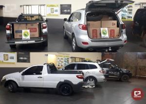 BPFron apreende 2 veículos carregados com cigarros contrabandeados em Terra Roxa