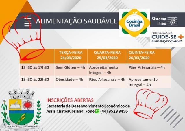 Prefeitura de Assis Chateaubriand abre inscrições para o curso Alimentação Saudável