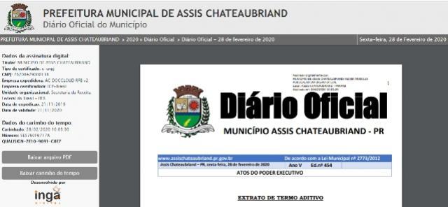 Atos Oficiais do Município de Assis passam a ser publicados na íntegra apenas no Diário Eletrônico