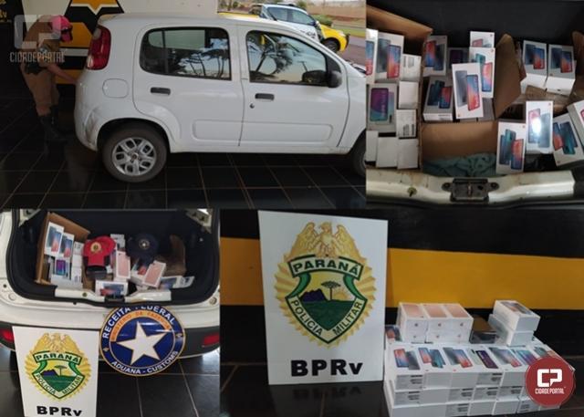 PRE de Assis Chateaubriand realiza a apreensão de contrabando de aparelhos smartphone