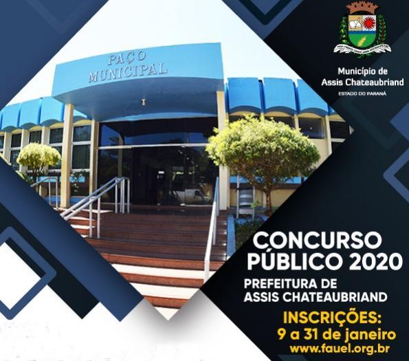 Prazo para inscrições no concurso público da Prefeitura de Assis termina sexta-feira, 31