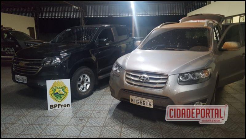 Policiais do BPFRON recuperaram duas caminhonetes roubadas sendo usadas para contrabando em Guaíra