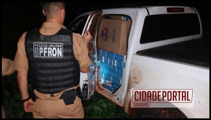 BPFRON apreende escopeta calibre 12 e uma caminhonete com contrabando