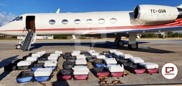 PF apreende 1,3 tonelada de cocaína em jato executivo no aeroporto de Fortaleza