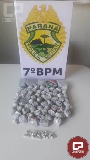 Policiais do 7º BPM apreendem maconha e cocaína em Tuneiras do Oeste