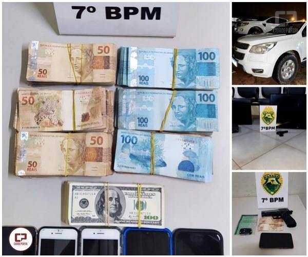 Alto valor em Dinheiro, Veículo roubado e simulacros de arma são resultados das operações do 7º BPM
