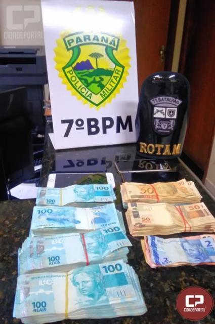 7º BPM apreende R$ 54 mil em espécie na cidade de Cruzeiro do Oeste