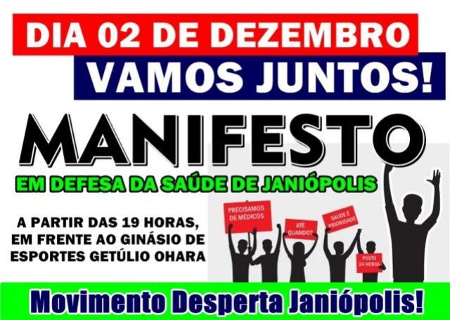 Lideranças organizam manifesto em defesa da saúde de Janiópolis