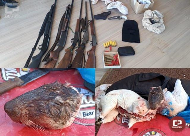 Duas pessoas foram presas por porte ilegal de arma e caça de animais silvestres no distrito de Primavera