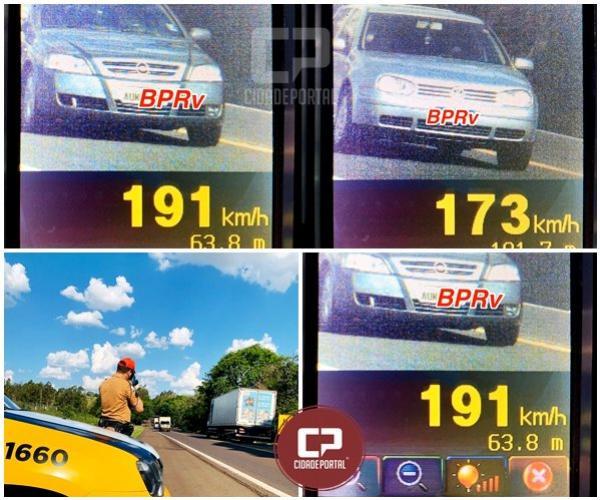 Motorista é flagrado a quase 200 km/por hora na PR-323 em Umuarama