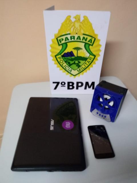 Policiais do 7º BPM apreendem autor de roubo e recuperam objetos na cidade de Mariluz