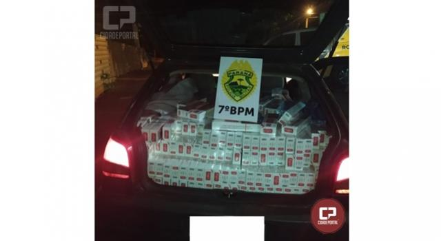 Rotam do 7º BPM apreende veículo carregado com cigarros contrabandeados em Mariluz
