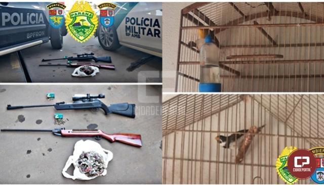 Polícia Ambiental apreende armas e animais silvestres e prende 2 homens em Mariluz