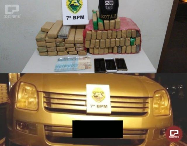 Duas pessoas foram presas pela ROTAM nas proximidades de Mariluz transportando quase 39 kg de maconha