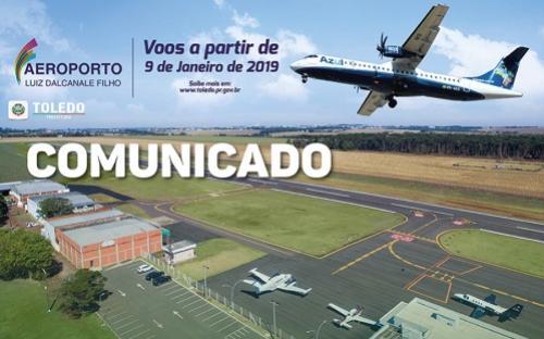 Aeroporto Municipal terá acesso restrito durante voo inaugural