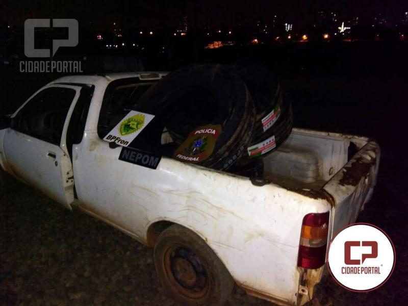 BPFRON e Polícia Federal apreendem veículo com contrabando durante operação fronteira integrada em Foz do Iguaçu - Pr