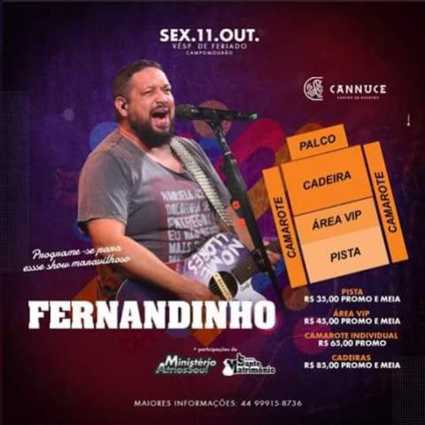 Show do cantor gospel Fernandinho nesta sexta, 11, no Cannuce Eventos de Campo Mourão