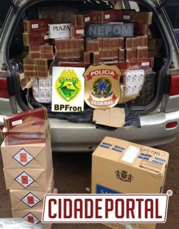 Através da Operação Fronteira Integrada, equipe do BPFron apreende veículo com cigarros contrabandeados do Paraguai