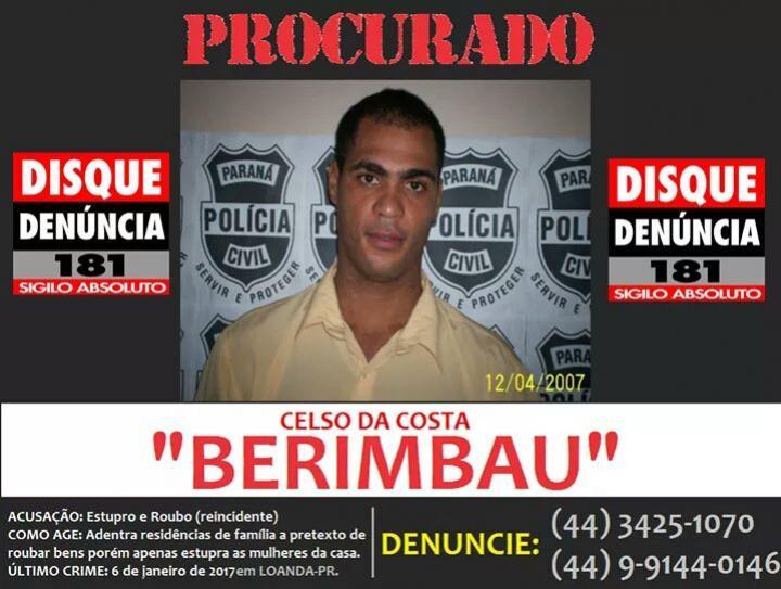 Procurado por Estupro - CELSO DA COSTA, vulgo BERIMBAU