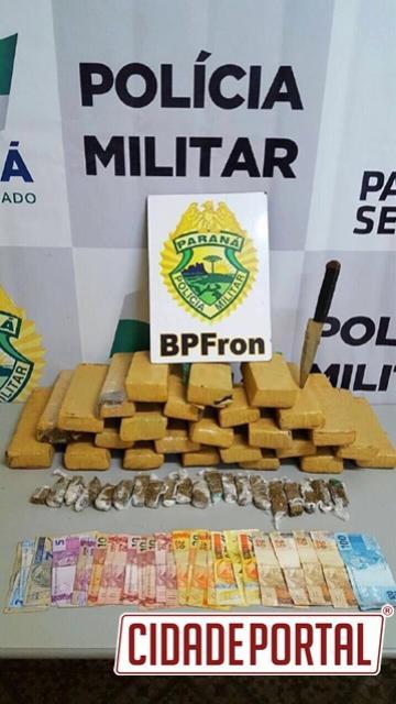 BPFron detém suspeito e apreende mais de 25 tabletes de maconha durante Operação Fronteira Blindada em Guaíra