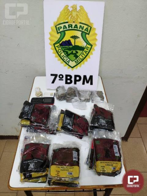 Policiais apreendem drogas, encaminham indivíduo e recuperam veículo roubado