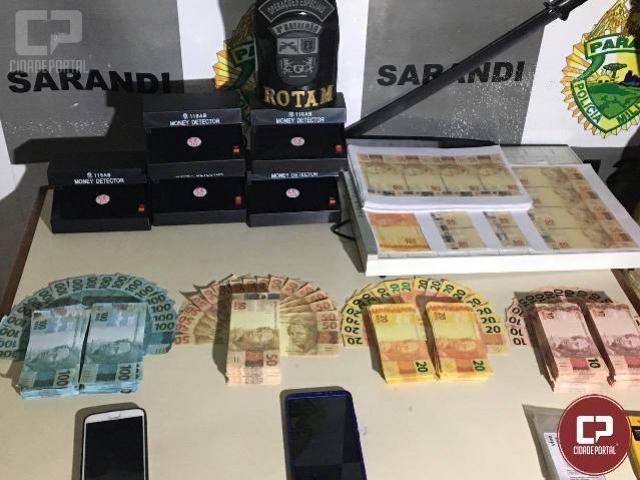 Em ação conjunta polícia militar de Loanda e Sarandi apreendem cerca de R$ 53.000,00 em notas falsas