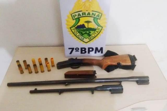 Policiais do 7º BPM recuperam um veículo furtado e apreendem uma arma de fogo em Tuneiras do Oeste