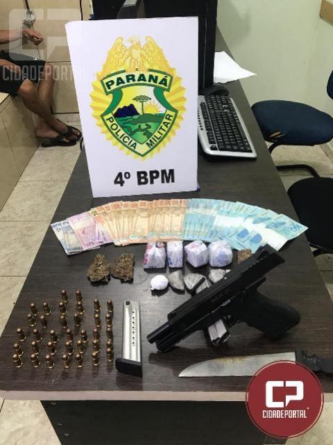 PM de Maringá prende homem por porte ilegal de arma de fogo e tráfico de drogas