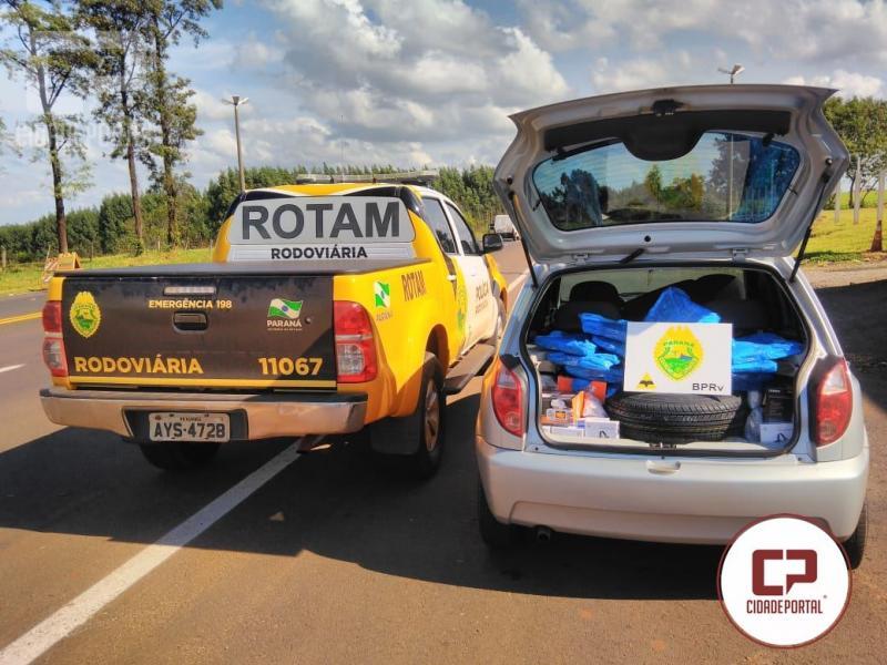 Rotam da 3ª Cia do BPRv Cascavel apreende veículo carregado com produtos do Paraguai