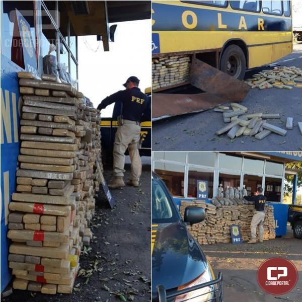 PRF apreende 936 kg de entorpecente em falso ônibus escolar no Paraná