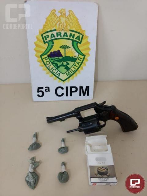 PM de Cianorte apreende revólver, entorpecentes e prende autor dos delitos