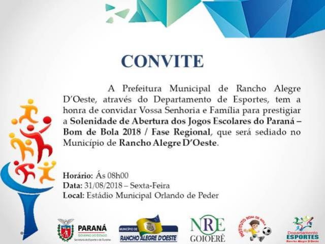 Abertura dos Jogos Escolares do Paraná será sexta-feira, 31 em Rancho Alegre do Oeste