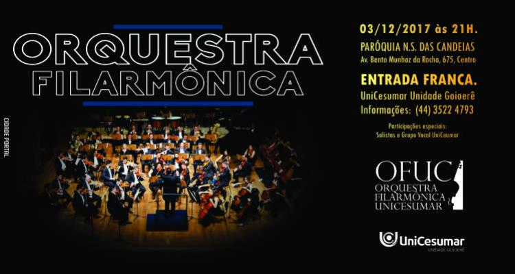 Orquestra Filarmônica Unicesumar vai se apresentar na Igreja Matriz de Goioerê neste domingo, 03