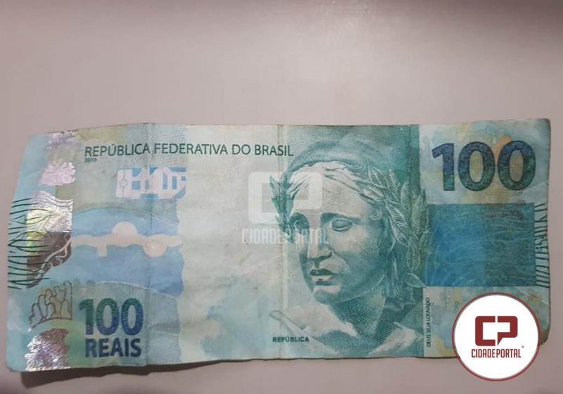 Uma nota falsa de R$ 100 reais foi apreendida em Roncador, um menor foi apreendido e outro fugiu