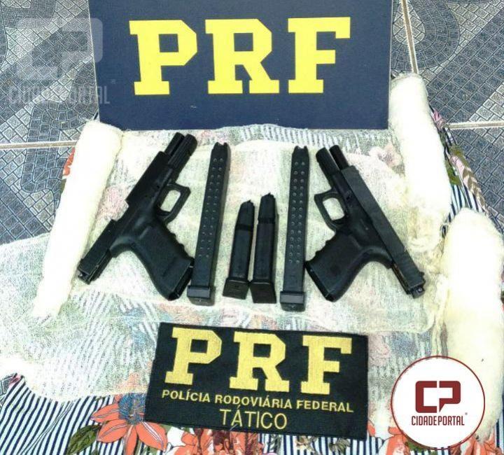 Polícia Rodoviária Federal apreende duas pistolas de uso restrito em Ubiratã