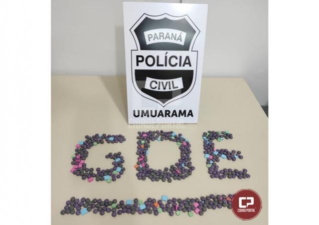 Polícia Civil de Umuarama faz apreensão de 500 comprimidos de Ecstasy