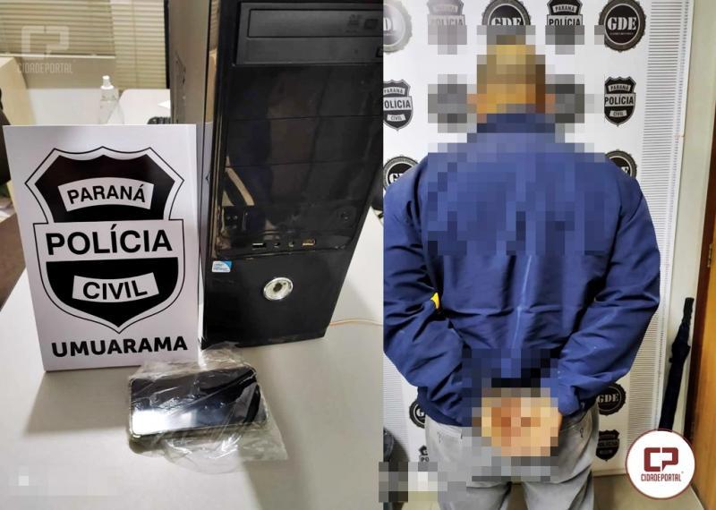 Polícia Civil prende pedófilo em flagrante na cidade de Umuarama-PR, nesta sexta-feira, 31