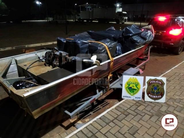 BPFRON, BOPE e Polícia Federal apreendem embarcação carregada com cigarros contrabandeados em Guaíra