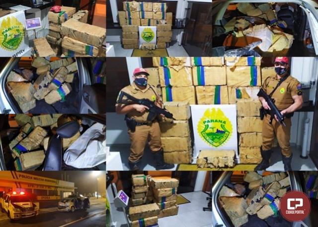 PRE de Iporã apreende mais de 500 kg de maconha após perseguição na PR-323 em Umuarama