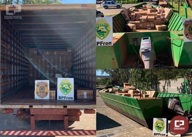 BPFRON apreende uma embarcação e um caminhão baú carregados com ilícitos em Guaíra