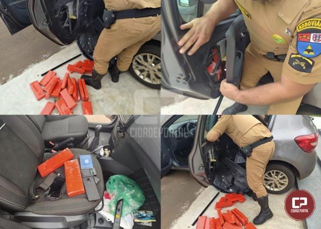 PRE de Iporã apreende veículo carregado com mais de 60 kg de maconha em Perobal