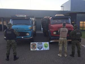 Caminhões, veículos, embarcação e cigarros foram apreendidos durante Operação Hórus em Guaíra