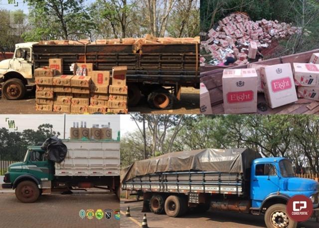 Três caminhões e 1500 caixas de cigarros contrabandeados foram apreendidos em Guaíra
