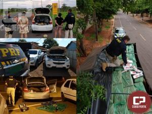 PRF apreende mais de 200 quilos de maconha, prende quatro pessoas e recupera dois veículos