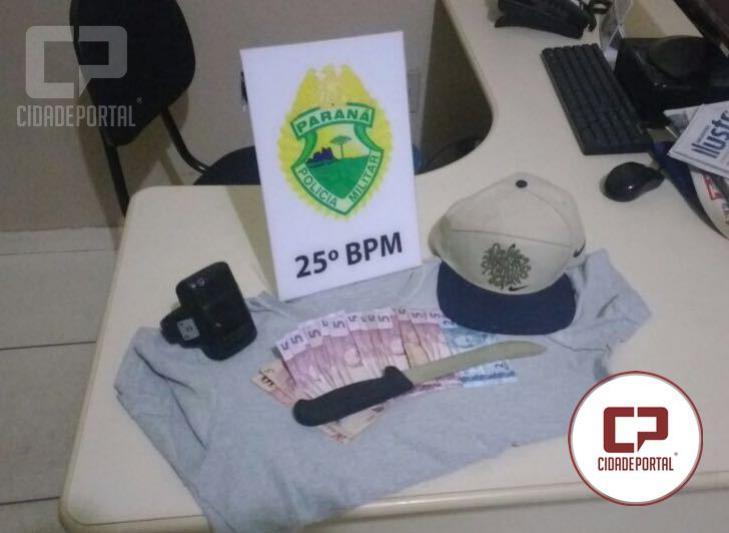 Polícia Militar de Umuarama prende uma pessoa responsável por roubo em comércio da cidade