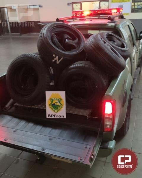 BPFron apreende carga de Pneus contrabandeados em Guaíra