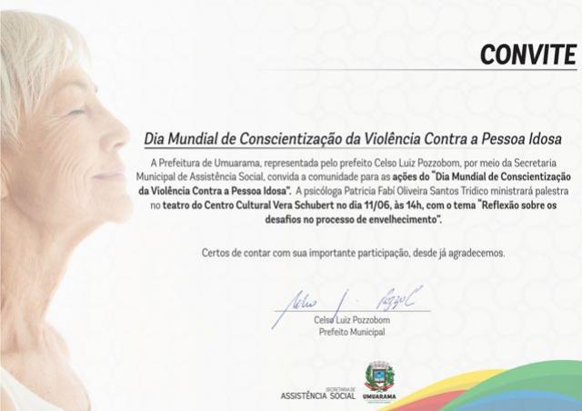 Dia de conscientização da violência contra o idoso tem ampla programação em Umuarama
